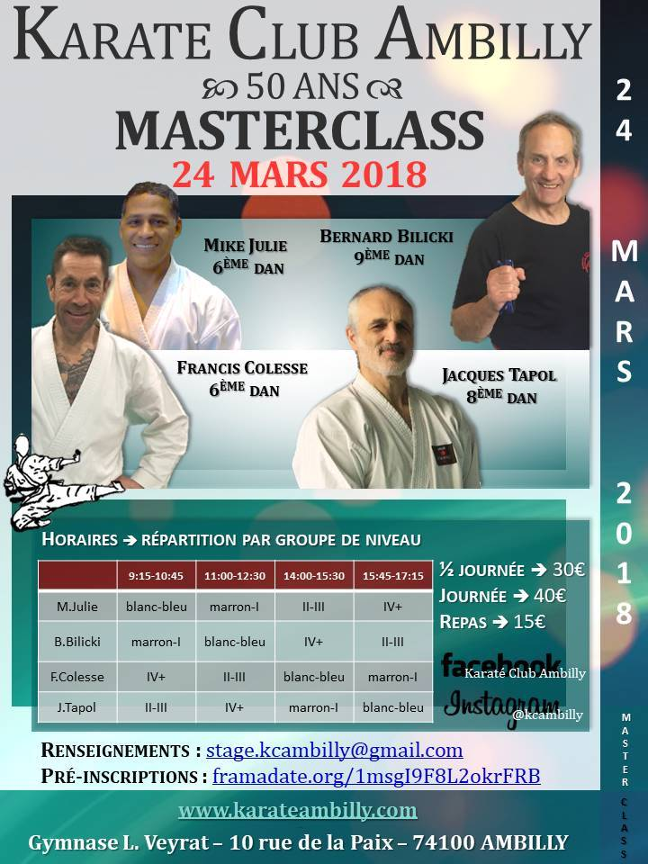 Stage MasterClass – 24 mars 2018